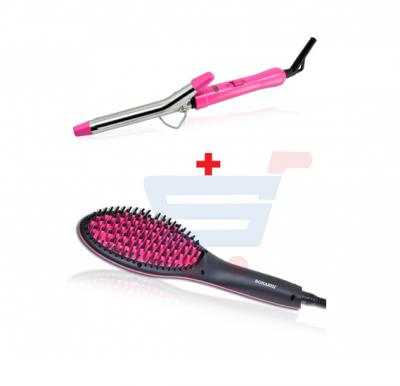 Bundle-Combo Offer Sonashi Hair Brush Straightener SHS-2062B + Sonashi Hair Curler Pink SHC-3002