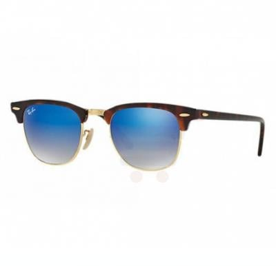Ray-Ban Clubmaster Gold Frame & Blue Gradient Flash Mirrored Sunglasses For Women - RB3016-990-7Q-51