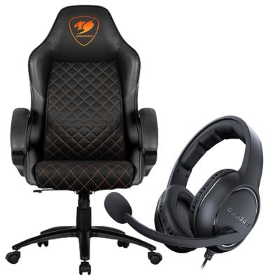 2 In 1 Cougar Fusion High Comfort Gaming Chair Assorted Colour And Cougar Over The Head Headset HX330 Assorted Colour