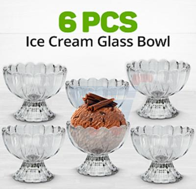 Ice Cream Glass Bowl 240ml 6 Pcs Set, JB1501