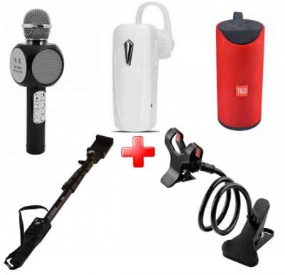 5 in 1 Bundle Offer Bluetooth Headset, Microphone Speaker, Selfie Stick, Mobile Stand and Wireless Speaker