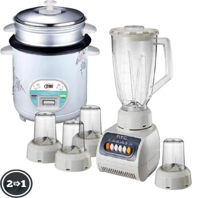2 in 1 Bundle HTC 5 in 1 Blender 1.5 Liters Plastic Jar with 4 Speed 250 Watts And Cyber Multi-Functional Automatic Rice Cooker 1.6