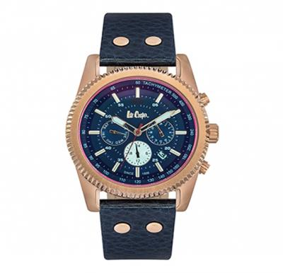 Lee Cooper Mens Multi function Rose Gold Case Blue Leather Strap Blue Dial, LC06188.499