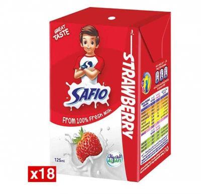 Safio UHT Milk Strawberry 125 ml x 18