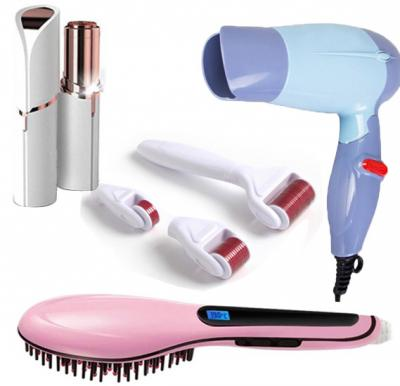 4 in 1 Bundle Pack Hair Straightening Brush HQT-906, T&F Finishing Touch Flawless Facial Hair Remover, T&F 4 in 1 Derma Roller And Promax MAX-1372 Corded Electric Hair Dryer
