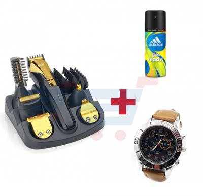 3 in 1 Bundle offer – Saachi 12 in 1 Trimmer + Quartz leather watch + Adidas Get Ready 150 ML Deo