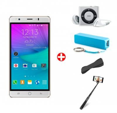Bundle Offer! Hotwav Cosmos V4 Smartphone, Android 5.1, 4G, 2GB RAM, 16GB Storage, 6inch HD LED Display, Dual Camera, Dual SIM, Wifi and Get Mp3 Player, Power Bank, Selfie Stick & Grip Cover FREE(WHITE)