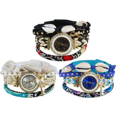 3 In 1 Sea Shell Bracelet Watch, Blue White Black