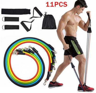 11Pcs Resistance Bands Set Expander Yoga Exercise Fitness Rubber Tube Band Stretch Training Equipment Gym Elastic Pull Rope For Home workouts