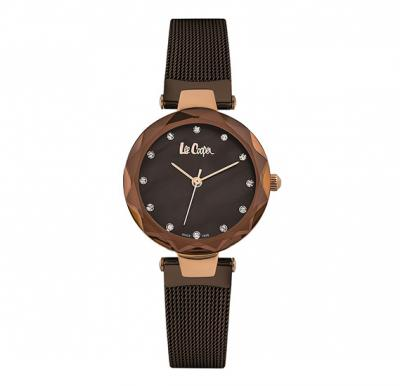 Lee cooper Ladies Rose Gold case,Brown Dial, Rose Gold Brown Mesh Bracelet, LC06607.440