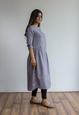 Ruky Fareen Linen Women Long Top Kurti Full Sleeve - RF 215 - M