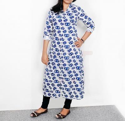 Ruky Fareen Long Top Full Sleeve Kurthees Cotton Blue Flower RF 110 - M