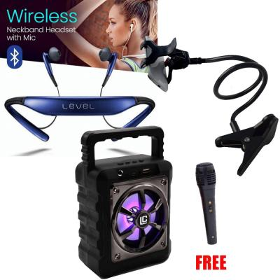 3 in 1 Bundle, Kuku Ln31 / Ln32 Small Karaoke System Wireless Stereo Super Bass Portable Bluetooth Speaker With Micro SD/TF And USB Support Free Mic, Level Wireless Bluetooth Neckband Headset with Mic, Lazy Bracket Mobile Stand