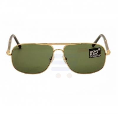 Mont Blanc Round Shiny Endura Gold Frame & Green Mirrored Sunglasses For Unisex - MB513S-30N