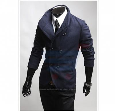 Mens High Neck Casual Coat Blue (Large) - 1655