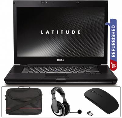 4 in 1 Laptop Bundle Dell Latitude E6510 Laptop Intel i7, 4GB RAM, 320 HDD Refurbished, Bluetooth Gaming Mouse Black, Akorn Headset With Laptop Bag 15.6-Inch Black