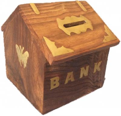 Money box Brown wooden handmade beautiful piggy bank