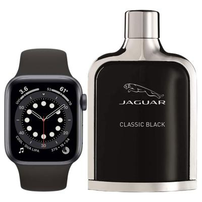 2 In 1 Apple Watch Series 6 44 mm GPS Space Gray Aluminium Case with Black Sport Band And Jaguar Classic Black Edt 100ml For Men