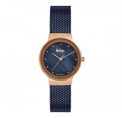 Lee Cooper Ladies Rose Gold Case, Blue-Mop Dial, Blue Meshc Bracelet, LC06472.490