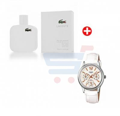Couple Combo! Lacoste Eau De Blanc Edt 100ml Spy For Men+ CASIO LTP-2085L-7A White Leather Strap For Women
