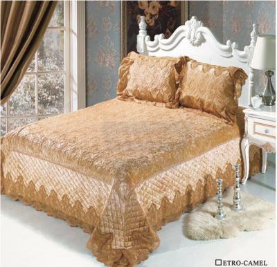 Senoures Velvet Bed Spread 3Pcs Set Double - Etro-Camel