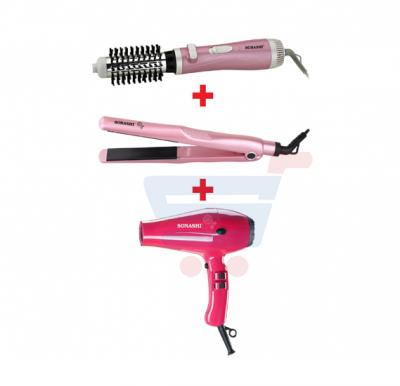 Bundle-Combo Offer Sonashi Rotating Hair Styler SHS-2051R + Sonashi Hair Dryer (Pink) SHD-3031 + Sonashi Ceramic Hair Straightener SHS-2006