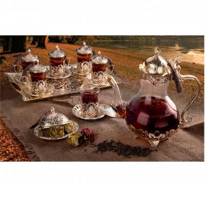 RoyalFord 22 Pcs Turkish Tea Set Golden - RF8363