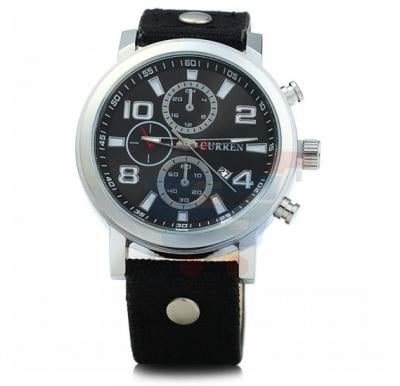 Curren Black Leather Strap Mens Watch, -M 8199