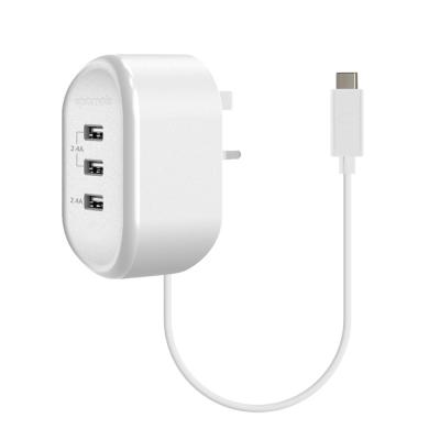 Promate USB Wall Charger Heavy Duty Home Charger with 3 USB Ultra-Fast Charging Ports, TORNADO-3C.WHT-UK