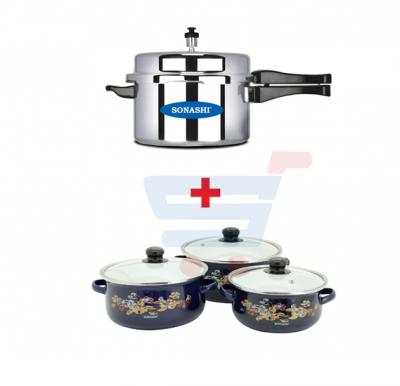 Bundle-Combo Offer Sonashi 7.5 ltrs Pressure Cooker SPC-175 + Sonashi Enamel Cookware 3 Pieces Casserole Set With Lids SEW-013
