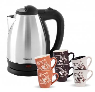 2 in 1 offer Krypton Water Kettle 1.8Litre With Olympia Coffee Cup 6 Pcs Set