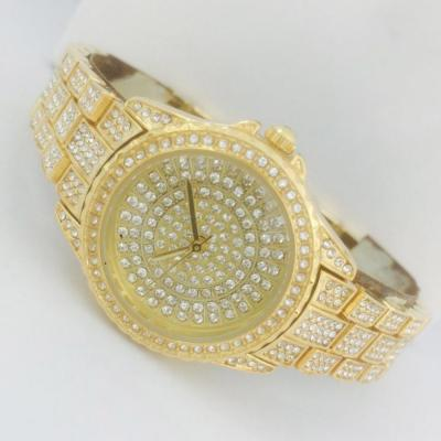 Catwalk Fashionable Cz Stone Covered Analog Stainless Steel Gold Dial Watch for Women, CW1027