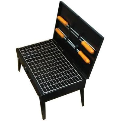 Portable BBQ Grill With 4 Skewer, Black And Silver