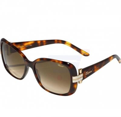 Chopard Oval Havana Spotted Orange Frame & Brown Gradient Mirrored Sunglass For Women - SCH133S-0748