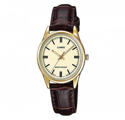 Casio Leather Strap Watch For Women, LTP-V005GL-9AUDF
