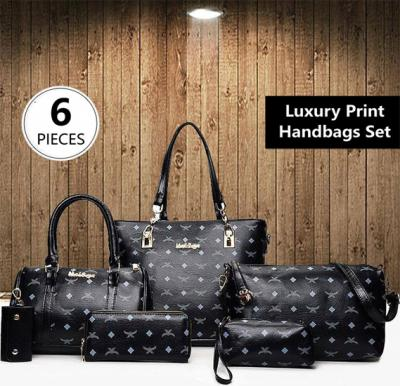 6 Pieces Luxury Bag Set High-Quality Black Handbags