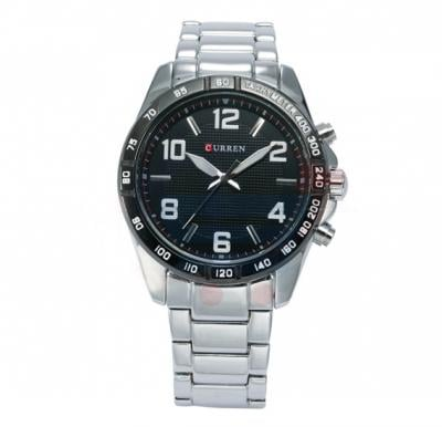 Curren Stainless Steel With Black Dial Mens Watch, -M 8107