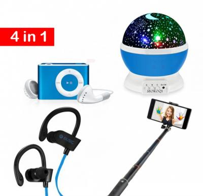 4 in 1 Bundle Sky Star Interchanging Colour LED Light with Selfie Stick, Bluetooth earphone And MP3 Music Player