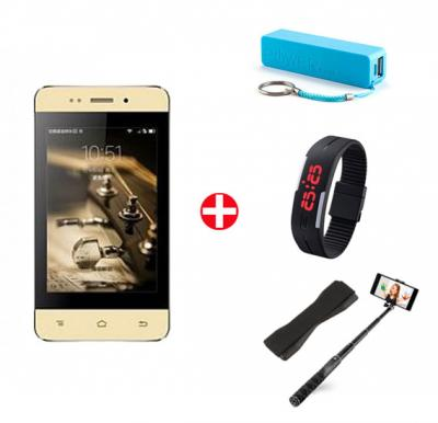 Bundle Offer! HTM M7 Mini Smartphone, 3G, 4 inch IPS LCD Display,256MB RAM, 2GB Storage, Dual Camera, Wifi and Get Powerbank + Selfie Stick + Grip Cover + Wrist Band Sports Watch FREE(GOLD)
