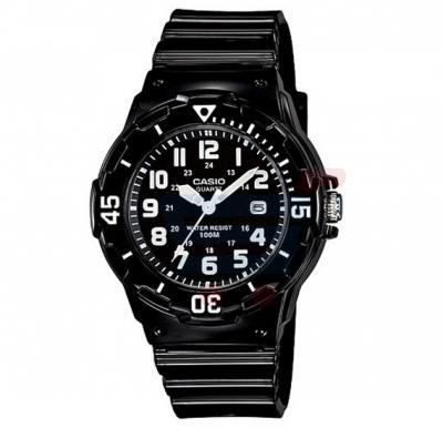 Casio Black Dial Watch For Women, Black Resin Band-LRW-200H-1B
