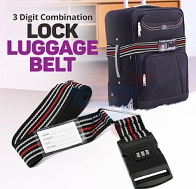 Adjustable 3 Digit Combination Lock Luggage Belt, CH-18E Assorted Color