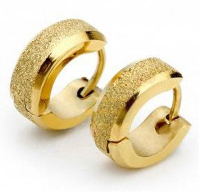 Fashion Gold Plated Titanium Earrings For Men, Trendy Ear Stud Korean Style Jewelry
