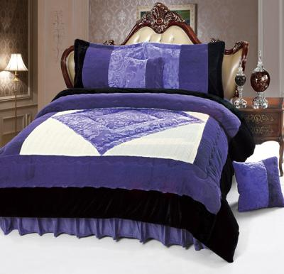 Senoures Velour Comforter 6Pcs Set King - SPV-009 Purple