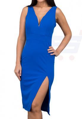 WAL G Italy V Neck Formal Dress Blue - CH 7011 - L