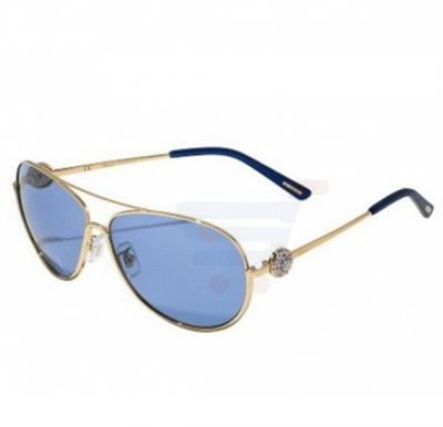 Chopard Oval Shiny Rose Gold Frame & Blue Mirrored Sunglasses For Unisex - SCHB23S-0300