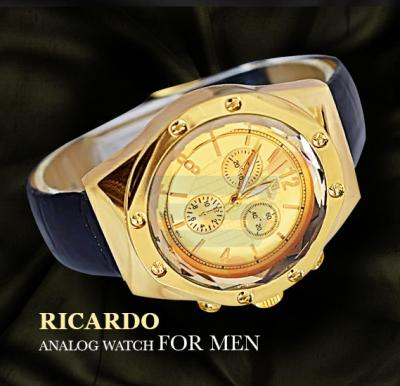 Ricardo Black Leather Strap Analog Watch For Men-Gold Dial-RC103