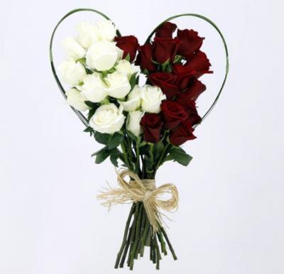 Black Tulip Flowers 30 Red & White Roses, Bt_Fl_0s76