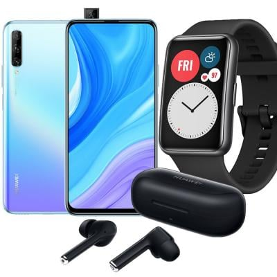 3 in 1 Combo offer Huawei Y9s Dual SIM 6GB RAM 128GB 4G LTE, Breathing Crystal and Huawei Watch Fit 46 mm Graphite Black with FreeBuds 3i Bluetooth Noise Cancelling Ear-Bud, Carbon Black