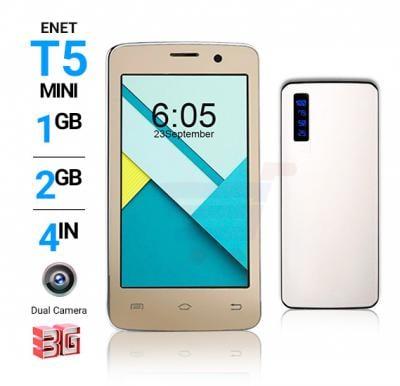2 In 1 Bundle Enet T5 Mini 3G Smartphone – Gold And Power Box 15000 mAh Power Bank