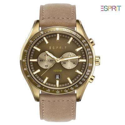 Esprit ES108241003 Brown Leather Analog Watch For Men, Green